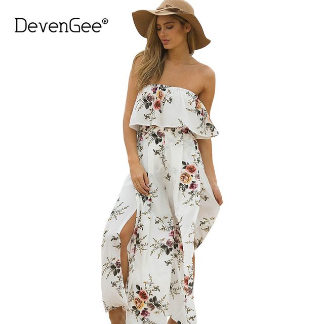 f4ab32d71a DevenGee Elegant Summer Beach Two Piece Set Women Sexy White Floral 2 piece  Outfits Set Strapless