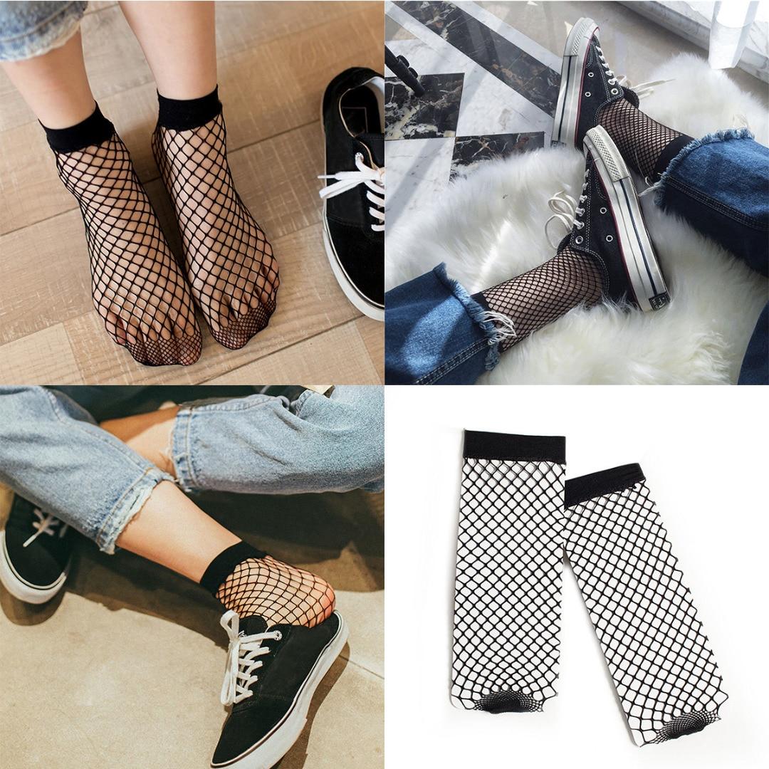 1Pair Sexy Women Black Lace Ruffle Ankle Sock Soft Comfy Silk Fishnet Elastic Mesh Knit Frill Trim Transparent Ankle Socks