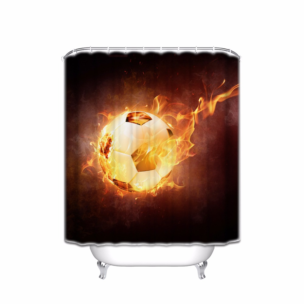 sports decor collection football on fire and water flame splashing thunder lightning abstract print shower curtain