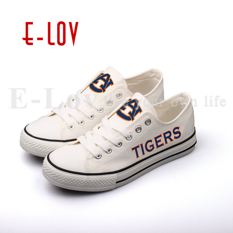 E-LOV 2018 Hot Sale College Casual Shoes Auburn Tigers Low Top Lace Canvas Shoes Gift Drop Shipping auburn
