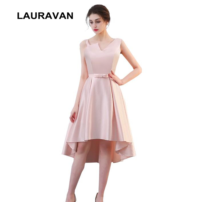 Simple Low Key Wedding Dresses: Pink Simple Bridesmaids High Low Satin Bridesmaid Dresses