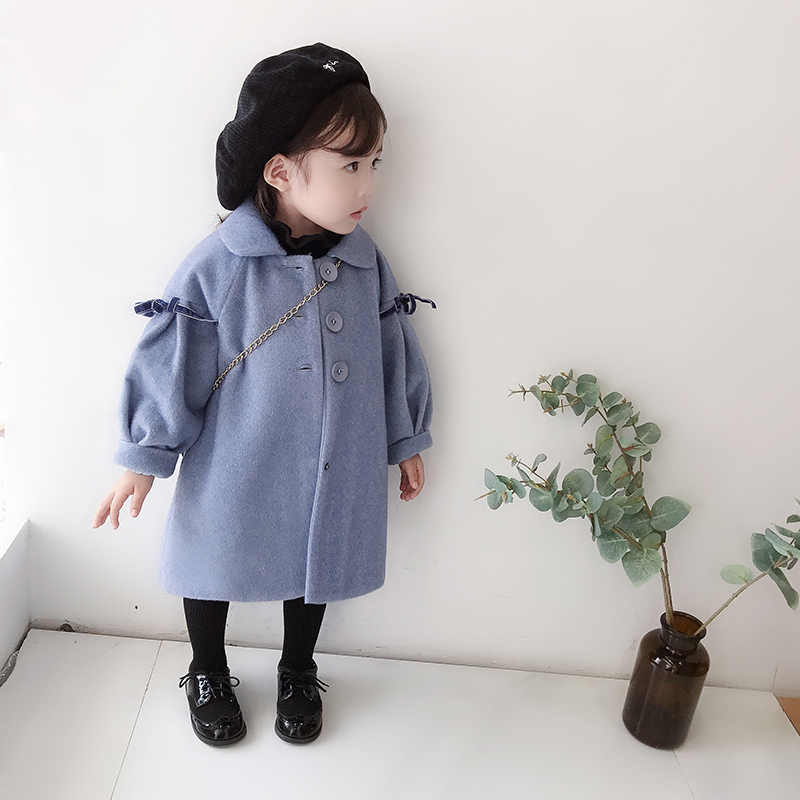 Children Girls Wool Coat Long Woolen Jackets Thick Warm Fashion Kids Winter Overcoat Long Sleeved Toddler Girl Parkas G417 2018 new fashion suede lamb wool women coats double breasted warm solid thick long overcoat casual winter cotton jackets female