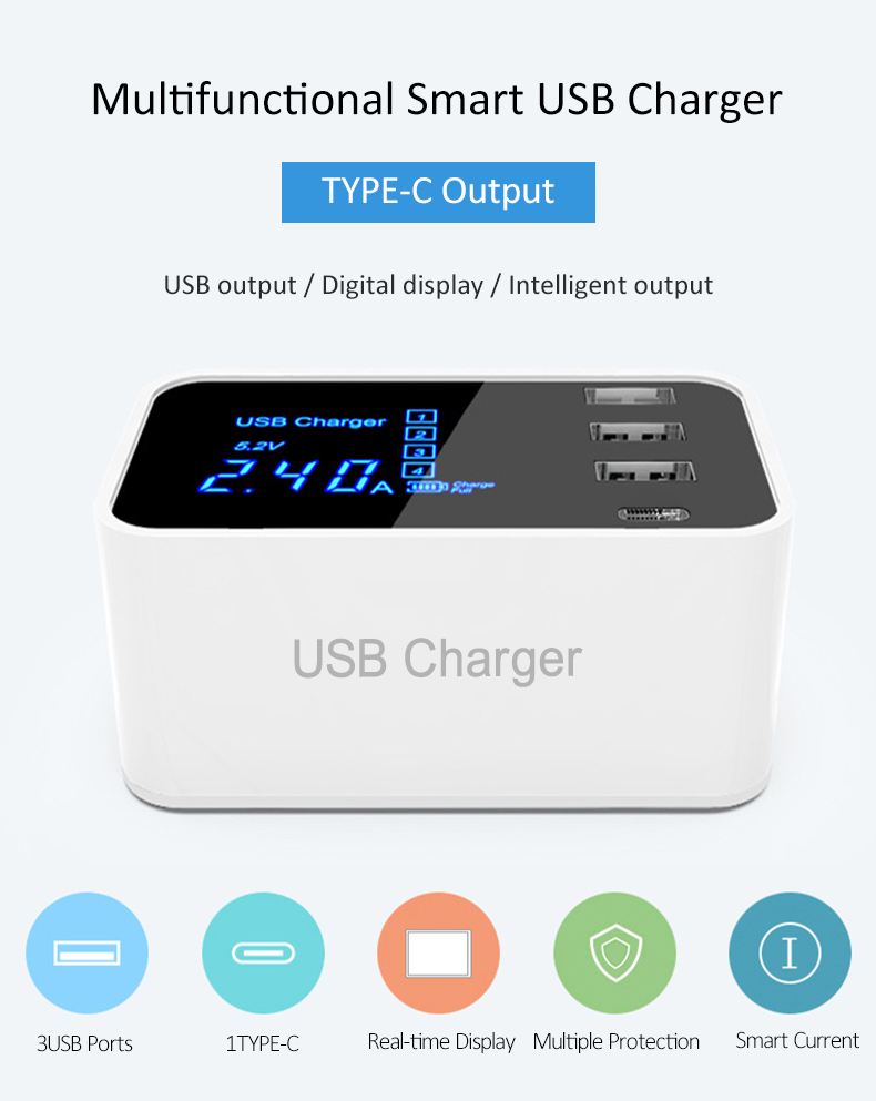 Quick Charge 2.0 Smart Type C USB Charger HUB Station (1)