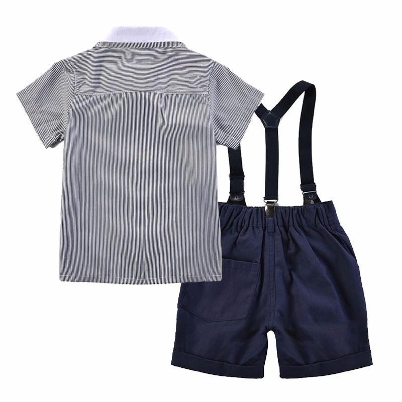 Baby Toddler Boy Little Gentlemen bow tie striped button down front shirt Shortalls set toddler boy party wedding birthday suit 1