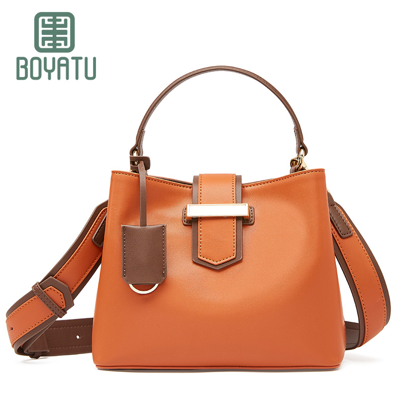 BOYATU Female Top-handle Genuine Leather Shoulder Bags Vintage Sac A Main Designer Women Crossbody Handbag Luxury Purse Bolsas luxury shoulder bag women top handle handbag famous designer high quality crossbody bag 2017 cc female purse bolsas ladies bags