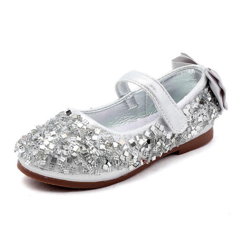 840284fe2c Little Girls Flower Children Gold Silver Rhinestones Glitter Princess Dress  Shoes For Teens Girls School Wedding Party Shoes New