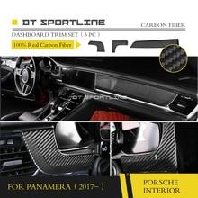 100% реальные углерода волокно внутренняя отделка для Porsche Panamera 971 2017 + тире комплект двери панель литье стайлинга приборной отделкой