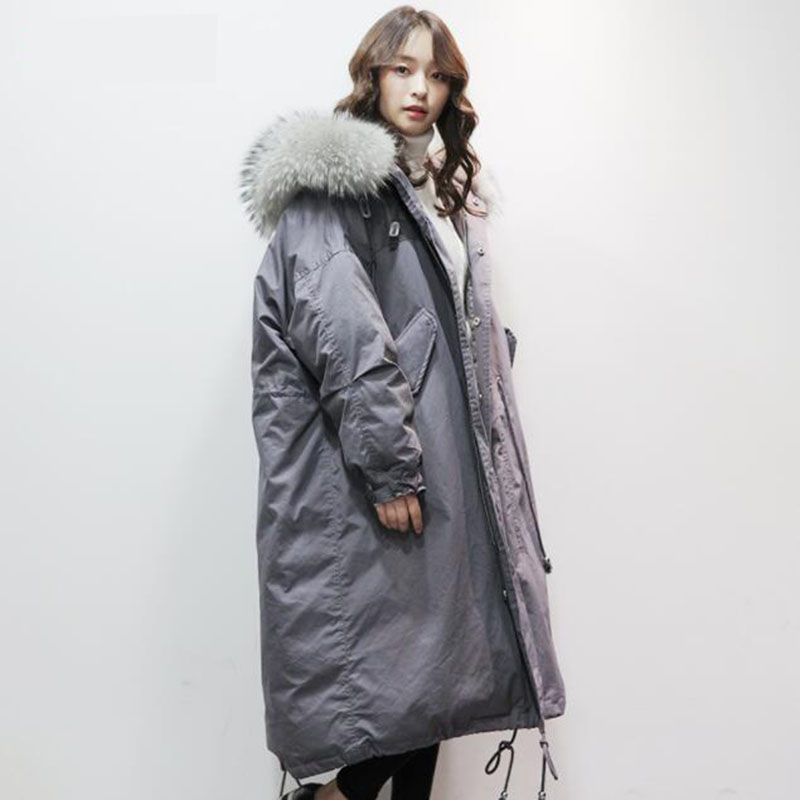 2018 New Fashion Winter Women's   Down   Jacket Oversize 90% Gray Duck   Down     Coat   Loose Large Raccoon Fur Thicken Hooded Long Parka