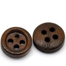 """Деревянные пуговицы для скрапбукинга, Круглые, темно-кофейные, четыре отверстия, 11 мм(3/""""), диаметр, 20 шт"""