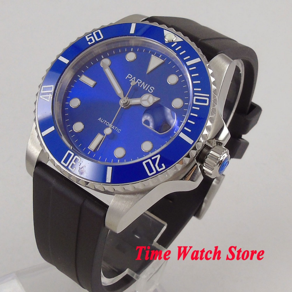 40mm PARNIS watch blue dial luminous sapphire glass blue ceramic bezel 21 jewels MIYOTA Automatic movement men's watch 653 все цены