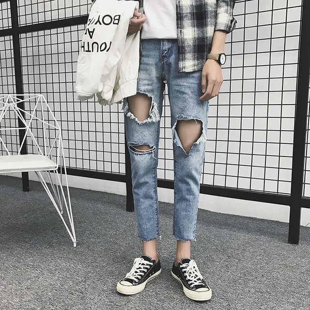 7a1c802dd605 Spring Summer 2018 New Jeans Men Light Blue Big Hole Mens Ripped Jeans Mid  Waist Casual Ankle Length Denim Pants Men Trousers 33