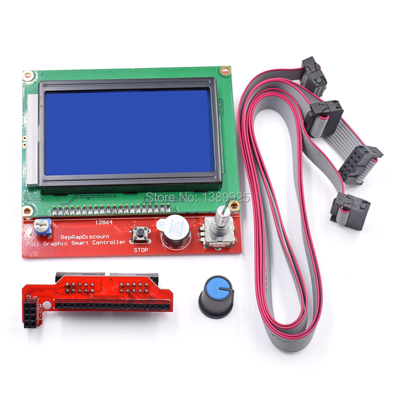 Free shipping !! 3D printer smart controller RAMPS 1.4 LCD 12864 LCD control panel blue screen