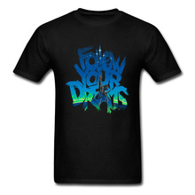 Follow Your Dreams T-shirt Men Space Cowboy T Shirt Anime Cool Letter Designer Tops Black Blue Tees Mens Cotton Clothing