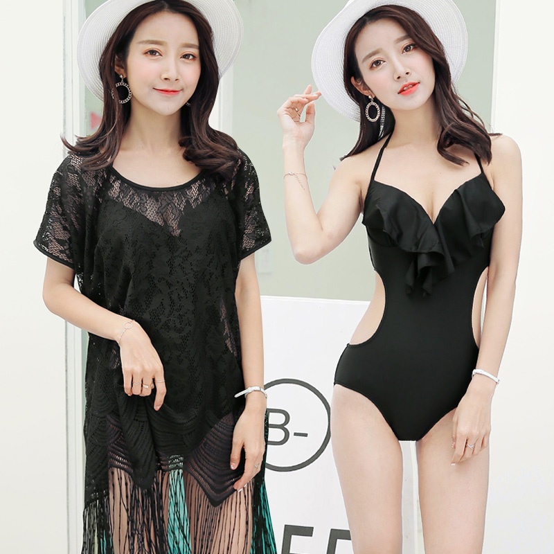 Summer 2018 new Sexy Black Transparent lace cover-ups Swimsuit Thongs women's one-piece swimwear beach women bathing suits one piece swimsuit cheap sexy bathing suits may beach girls plus size swimwear 2017 new korean shiny lace halter badpakken