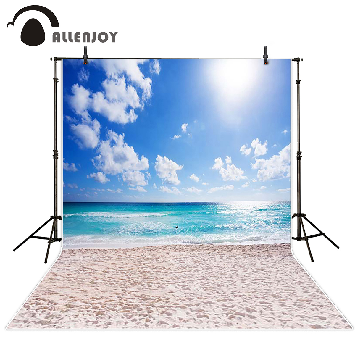 Allenjoy scenery photo backdrop Beach footprints sky sun blue sea photocall For a photo shoot background for photo studio blue sky чаша северный олень