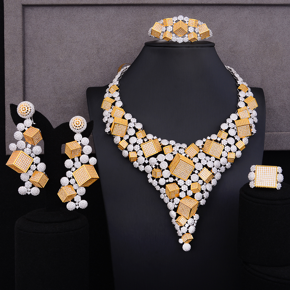 missvikki Luxury Noble Handmade 4 PCS Unique Pendant Earrings Ring Bangle Jewelry Set Cubic Zirconia Dubai Women Accessories