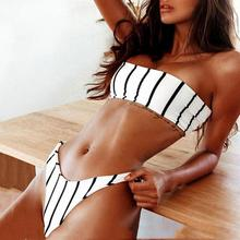 Women Sexy Printed Wrapped Chest Swimsuit Bathing Suits Bandeau Bikini Set Push-Up Padded Bow Swimwear Black And White Stripe bule sexy self tie swimwear with padded chest