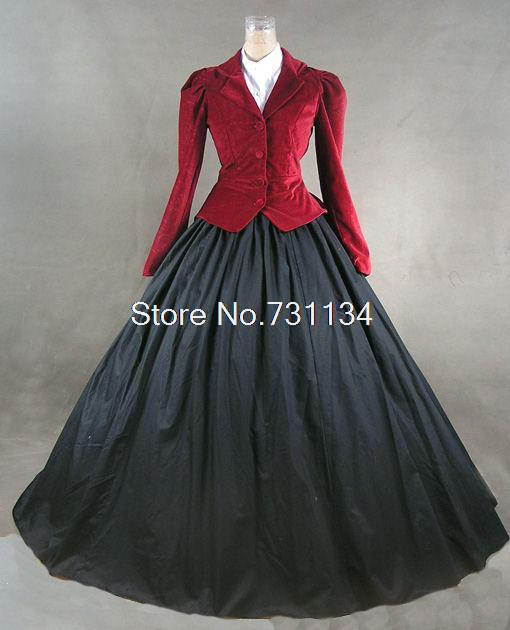 US $105 8 8% OFF|Cheap Red And Purple Long Sleeved Vintage Style Party  Dresses Medieval Renaissance Ball Gowns/PartyDress/Civil War Dress-in  Dresses