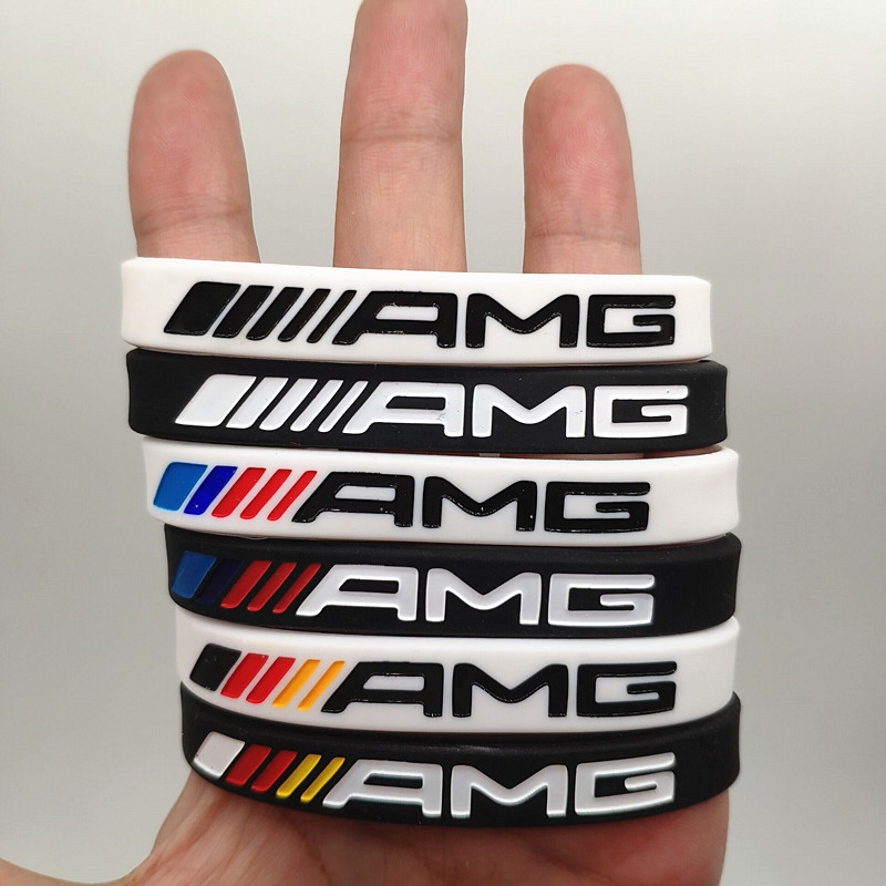 2pcs Sport Silicone Bracelet Men Women Wristband Rubber Wrist Band Bangle for Mercedes Benz AMG Club Fans Car Accessories Gifts