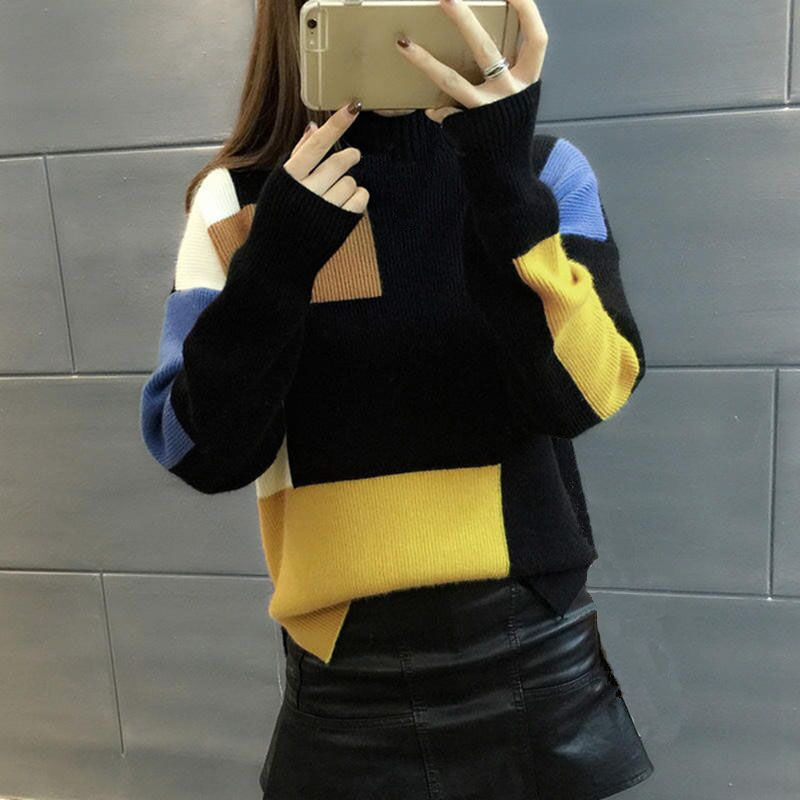 2019 Women Sweaters And Pullovers Elegant Turtleneck Sweater Women Jumper Autumn Mixed Colors Knitted Pullover Pull Femme C3682