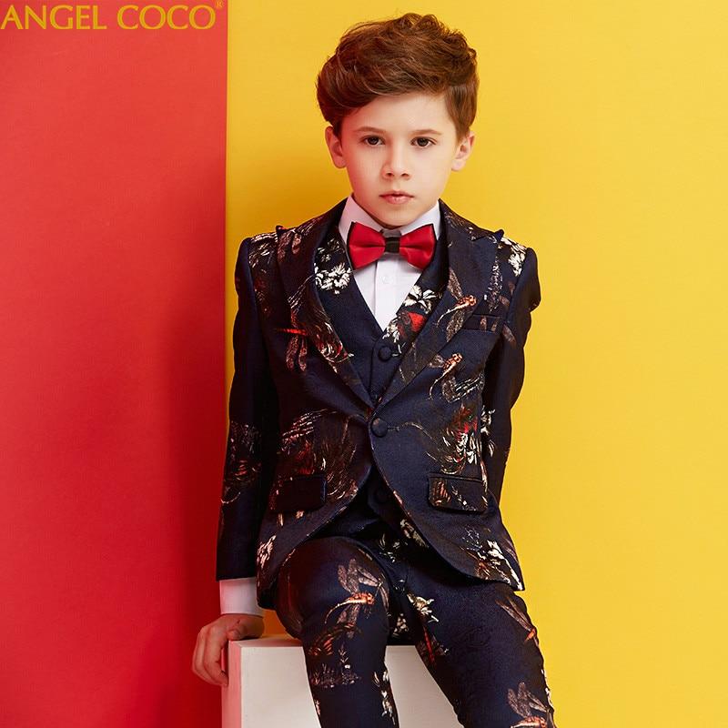 High Quality Fashion Gentleman Style Custom Boy Suit Tailor Suit Suit Jacket Boy 8 Piece Print Costume Show Menino Garcon 2018 suit fay junior suit page 8