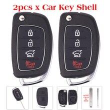 2 Шт. 3 + 1 Panic Замена Ключа Автомобиля Shell Для Hyundai I10 I20 I30 i35 Ix45 Флип Складные Дистанционного Ключа Автомобиля С Пустой Ключ и Наклейки