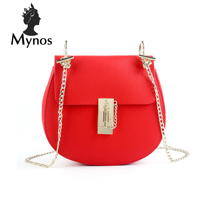 MYNOS New Famous Brand Designer Cow Leather Circular Women Messenger Bag Women Handbag Crossbody Bags For Women SAC A MAIN Femme