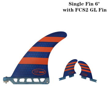 Surf longboard fin 6 inch Fin with FCS2 GL Fibreglass in Surfing single Red/Blue color