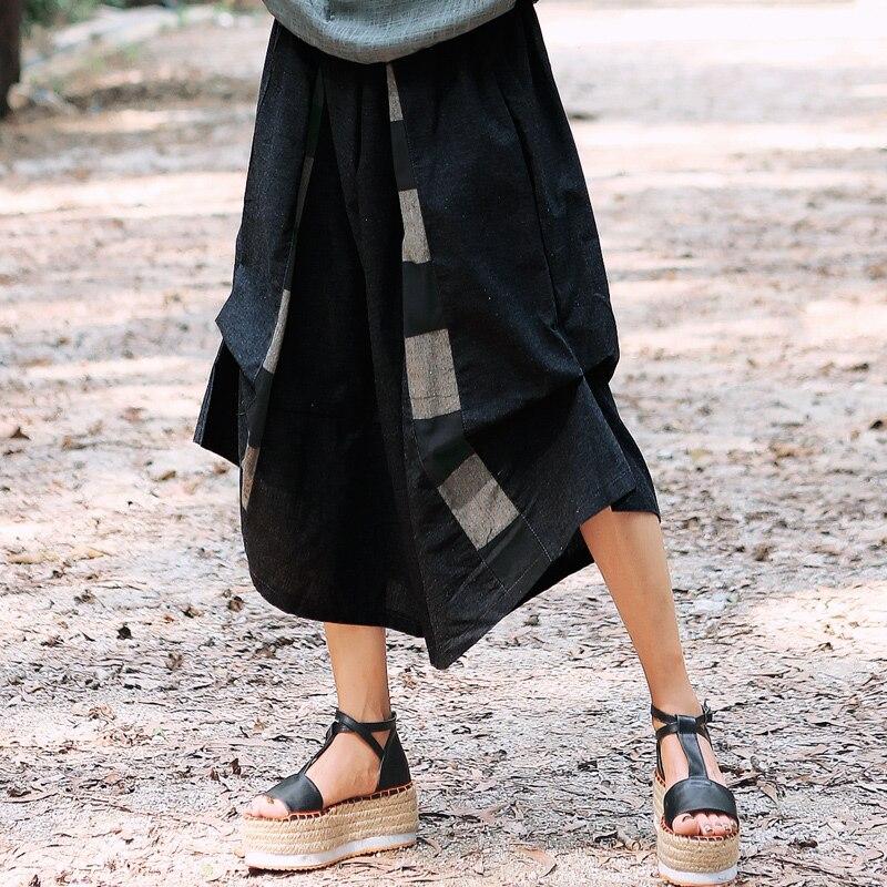 Linen Pants Women 2019 Summer Vintage Cropped Harem Pants Elastic Waist Pockets Baggy Pants Women Wide Leg Pants Ladies Trousers