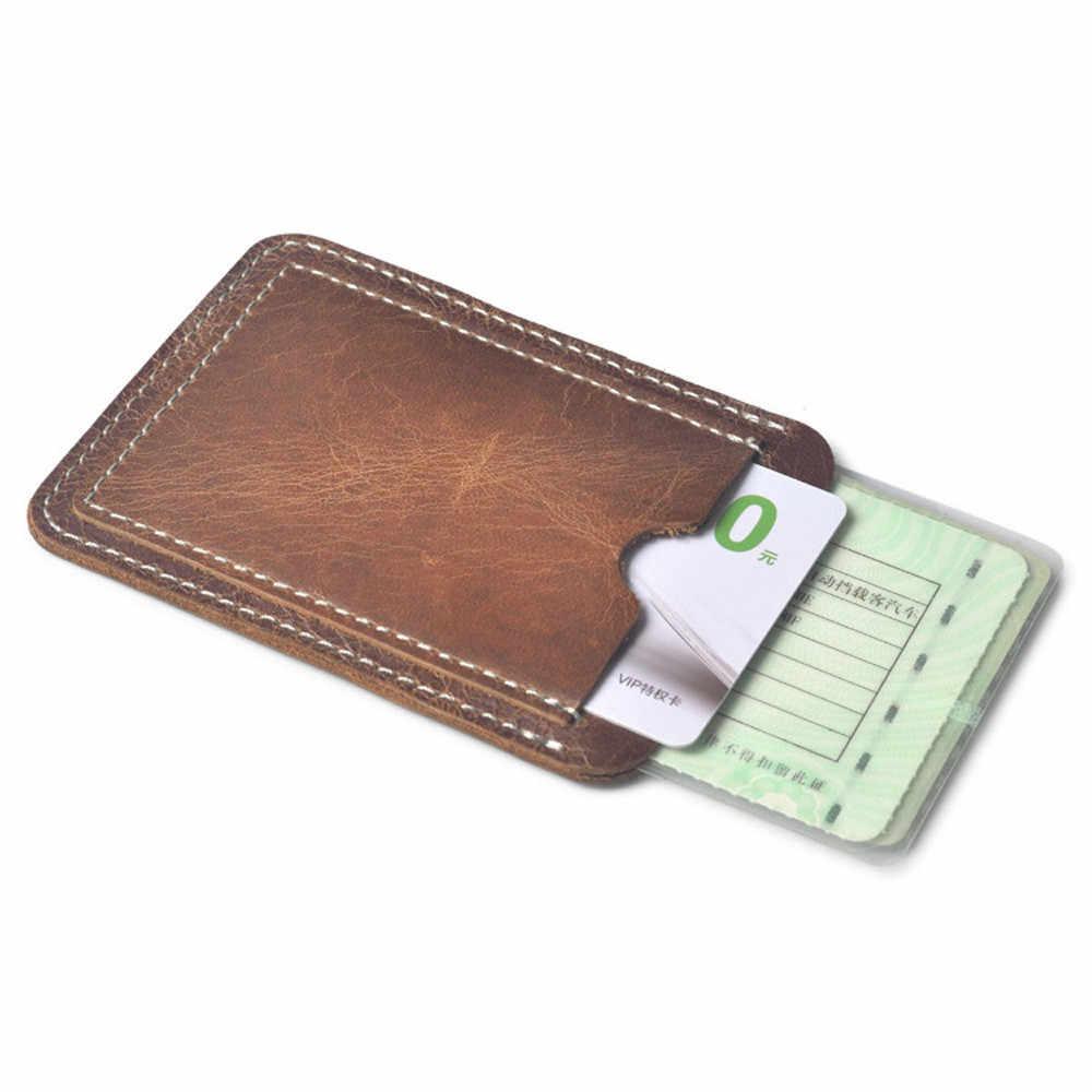 Коричневый держатель для карт, тонкая Кредитная карта, ID держатель для карт чехол, сумка, кожаный кошелек, держатель для мужчин и женщин, две карты, водительские права, посылка