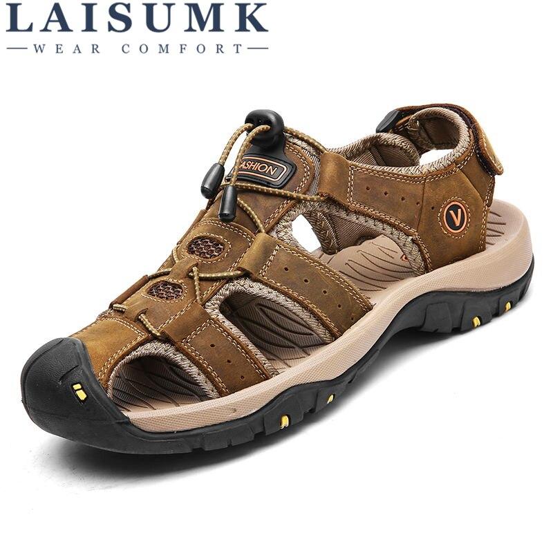 LAISUMK Classic Men Sandals Comfortable Summer Shoes 2018 Leather