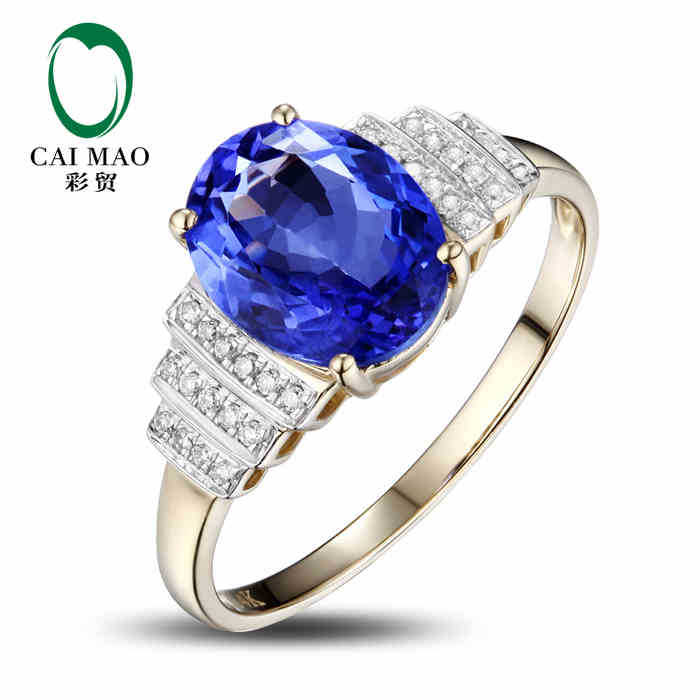CaiMao 14KT 585 Ouro Amarelo 2.25 ct Natural SE Azul AAA 0.12 ct Tanzanite  Gemstone 2d6a0a5a57