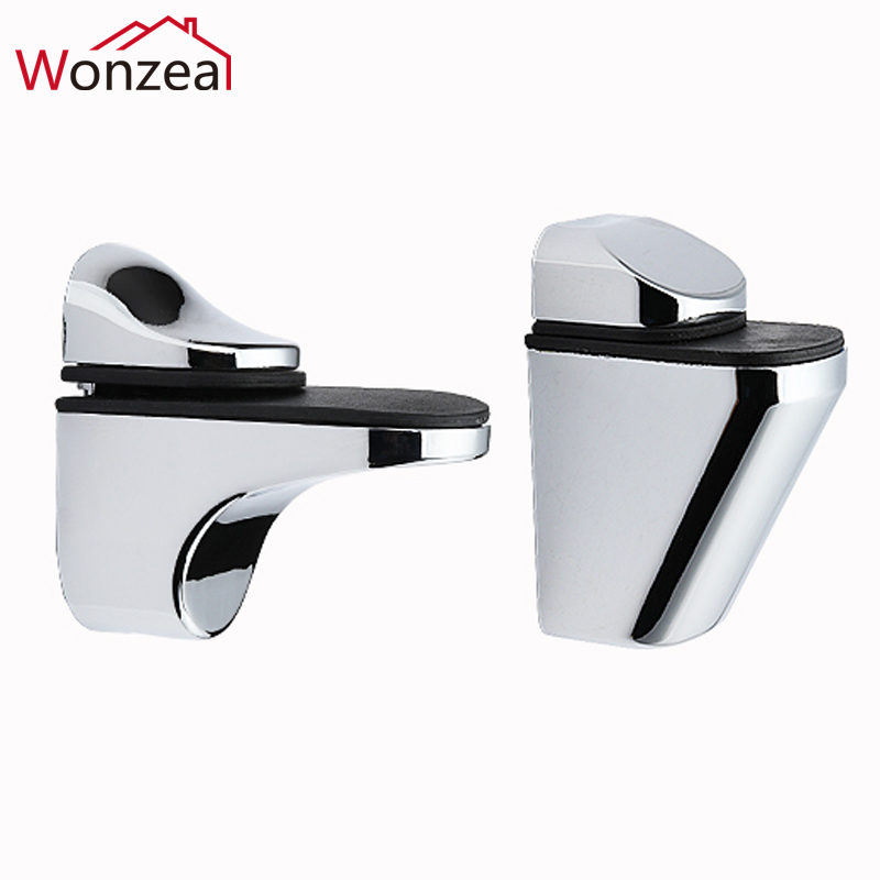 Zinc Alloy Adjustable Glass Shelf Holder Glass Clamps Bracket Glass Shelf Bracket Glossy/Satin Finished Chrome Alloy Shelf Holde