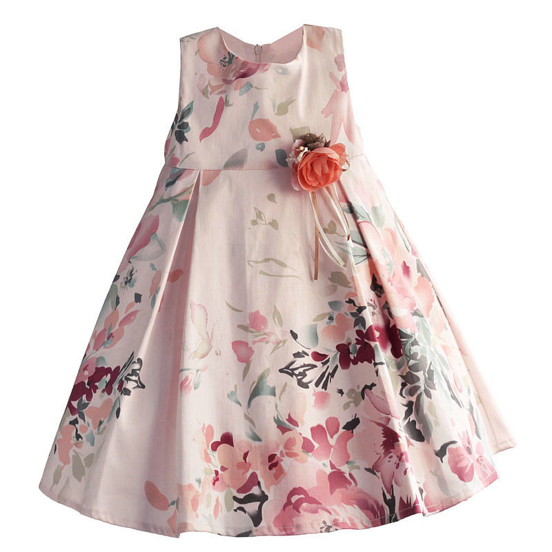 Baby Girls Dress Floral Print Children Kids Dresses for Party Birthday Cotton Pink Bow Girls Clothes robe fille enfan1-6T 2016 summer hot girls rose golden wide belt dress children floral formal dress birthday party dress red white pink 6 size