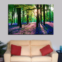 1 Pcs HD Prints Sun Forest Tree Lavender Canvas Pictures Living Room Wall Art Painting Home Decor Poster Abstract Painting