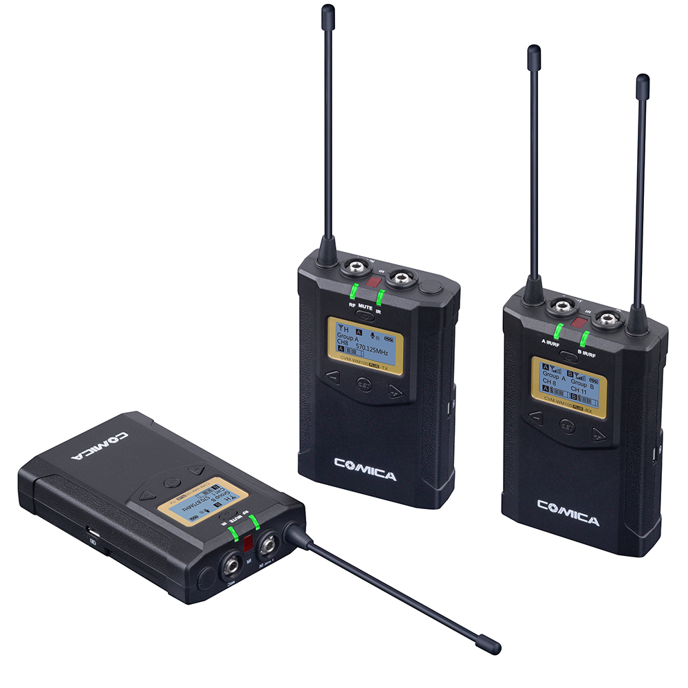 CoMica CVM WM100 PLUS UHF 48 Channels Mono Stereo Real Time Monitoring Wireless Microphone with Dual