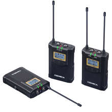 CoMica CVM-WM100 PLUS UHF 48-Channels Mono/Stereo Real-Time Monitoring Wireless Microphone with Dual-Transmitter and One Receive
