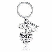 12 개/몫 나를 도와 주셔서 감사합니다. 키 체인 배우기 apple ruler abc book heart charms 열쇠 고리 교사 용 열쇠 고리 선물