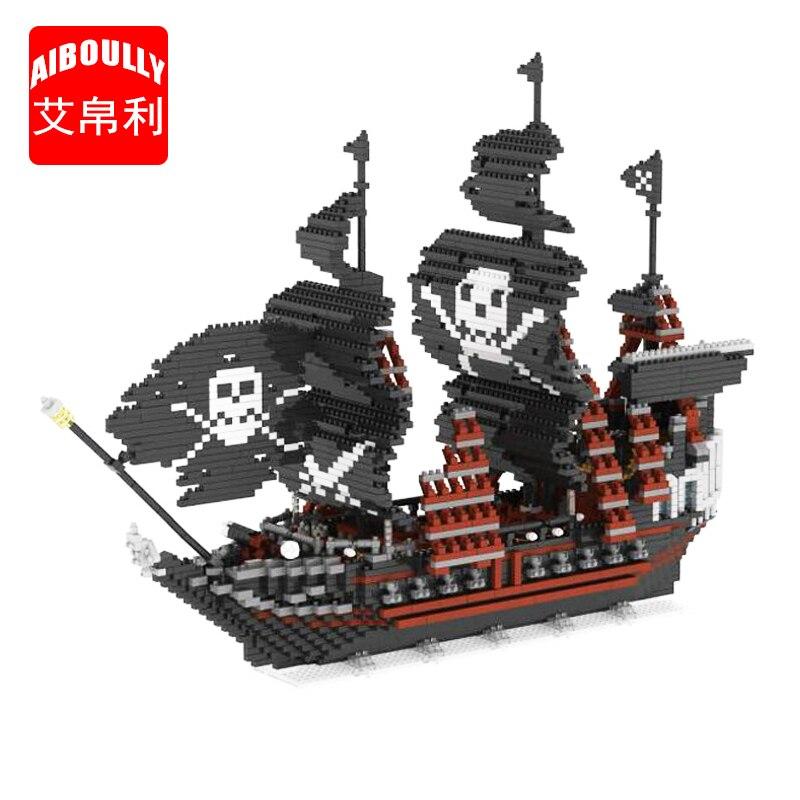 AIBOULLY 66520 Caribbean Pirate Black Pearl Ship 3D Model 3633pcs DIY Mini Building Diamond Nano Blocks