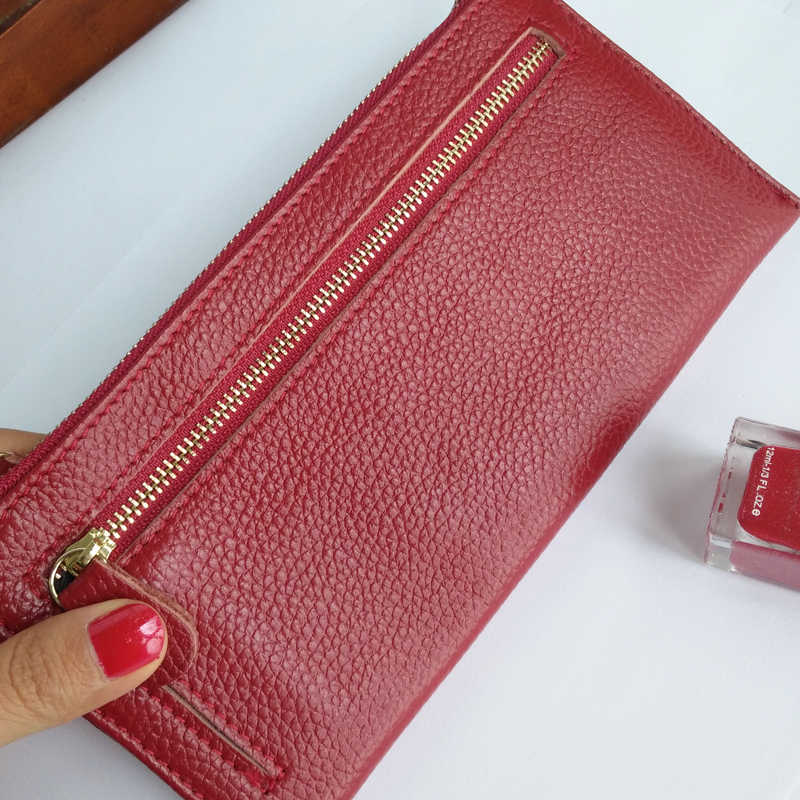 0251a5e12 IVANNIE Women Genuine Leather Slim Wallets Long Multiple Cards Holder  Clutch Purse Female Original Leather Solid