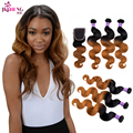Brazilian Virgin Hair Body Wave With Closure 3pcs Dark Honey Blonde 1b/30 Two Tone Ombre Human Hair Weave With Full Lace Closure
