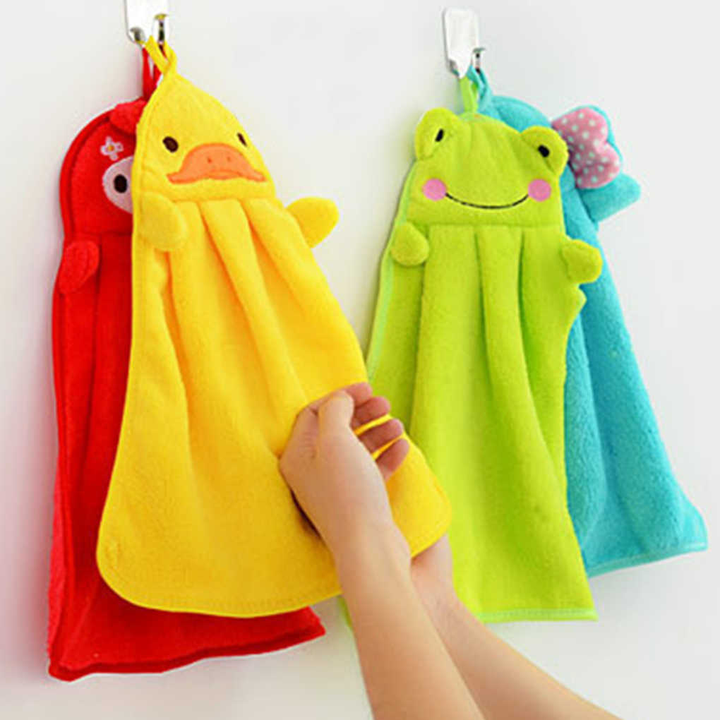 Eco-friendly Candy Colors Soft Coral Velvet Cartoon Animal Towel Can Be Hung Kitchen Cleaning Used
