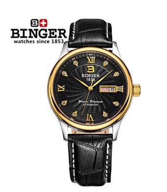 Trendy Men Leather rhinestone watch Man Luxury Golden Binger Wristwatch High Quality Brand CZ Diamond Watches Christmas Gifts