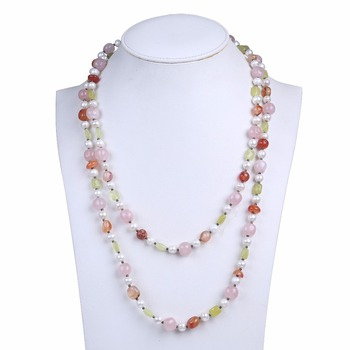 Cute freshwater pearl necklace with pink natural gagte bead 2 layers women long necklace as girl birthday gifts