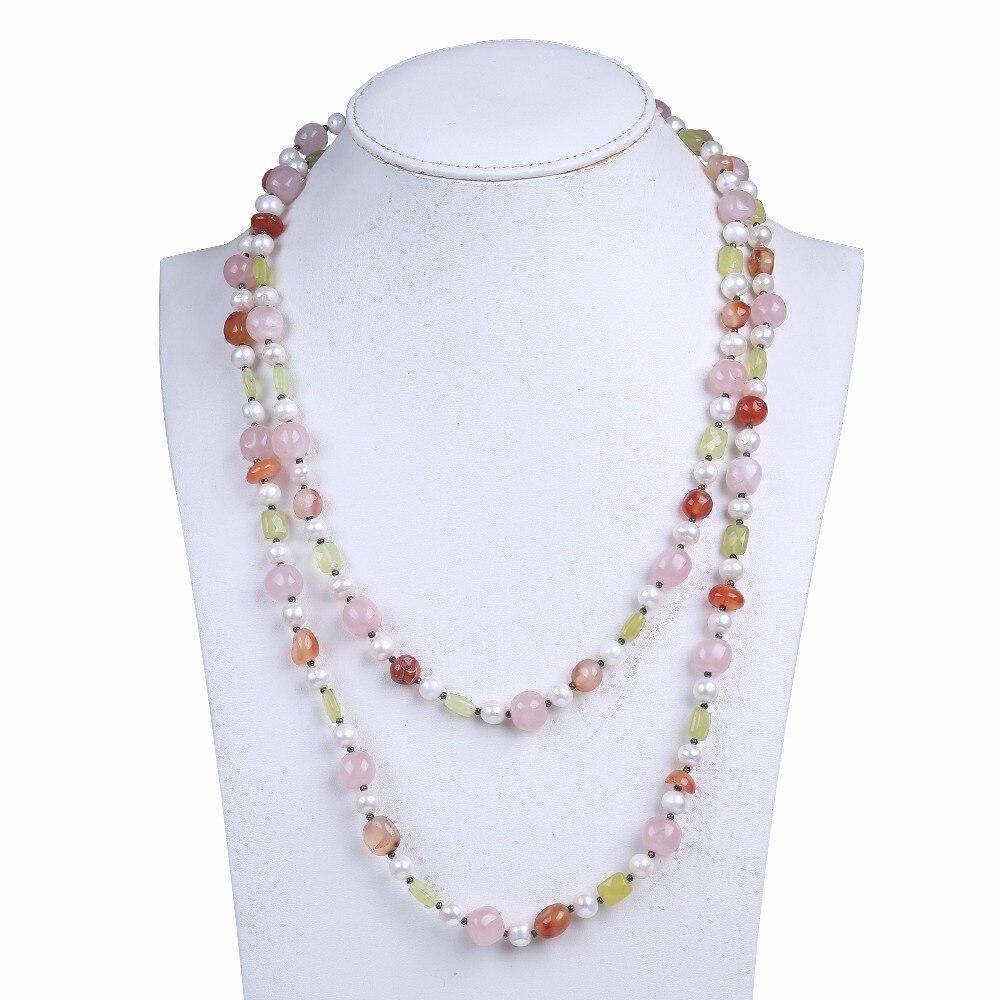 Mignon collier de perles d'eau douce avec perle de gagte naturelle rose 2 couches femmes long collier comme cadeaux d'anniversaire de fille