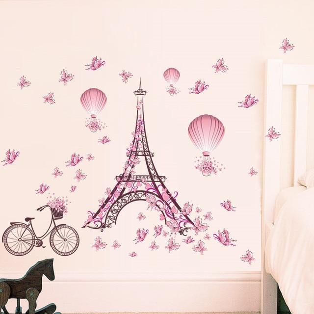 Hervorragend Romantische Eiffelturm Wandaufkleber Aufkleber Wohnzimmer Schlafzimmer  Dekoration Fahrrad Blume Heißluftballon Kinderzimmer Dekoration