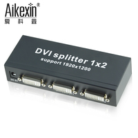 Aikexin 2 port DVI Splitter Dual link DVI D DVI Splitter 1X2 DVI Distributor 1 in 2 out 1920*1200 with Power Adapter