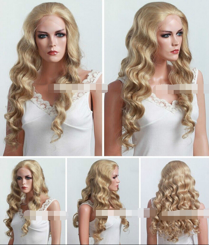 002288 Long Curly Blonde Synthetic Lace Front Wig/HAIR