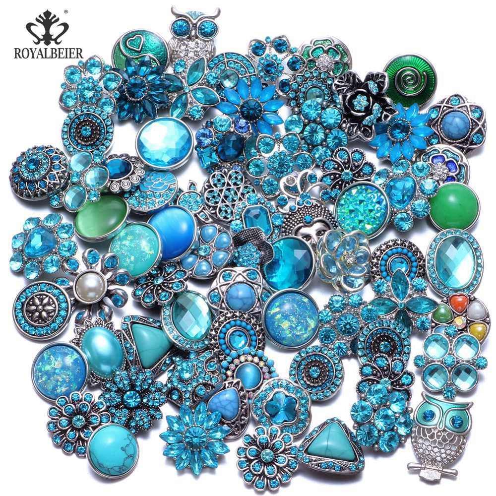 50 шт./лот, смешанный металл и стекло, 18 мм, кнопки, ювелирное изделие, сделай сам, стразы, кнопки, подвески для кнопки сделай сам, браслет, ювелирное изделие - Окраска металла: Top Blue Series