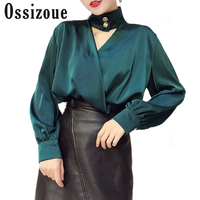 2018 Spring Silk Sexy Blouse Top Halter V Neck Hollow Out Chemise Femme Long Sleeve Women